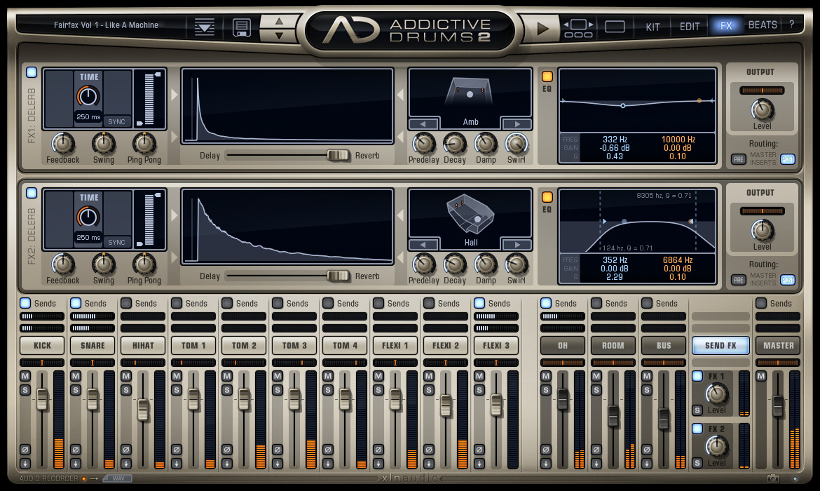 Addictive Drums 2: FX page