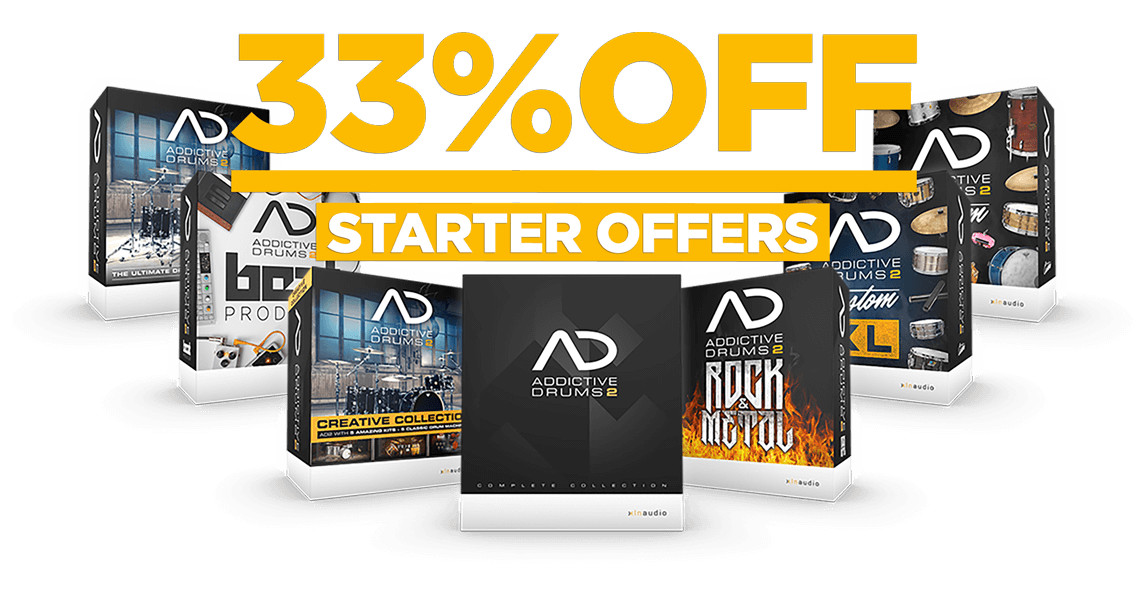 33% off Addictive Drums 2 Starter Offers. Use code AD2starter at checkout