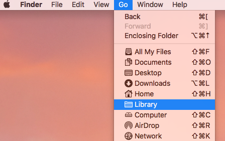 Hold down alt to show Library in the menu