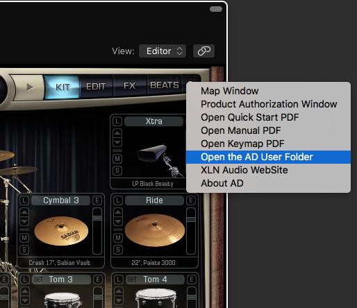 Open user folder